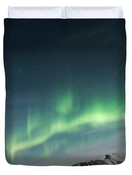 Duvet Cover featuring the photograph Aurora Borealis Over Iceland by Sandra Bronstein