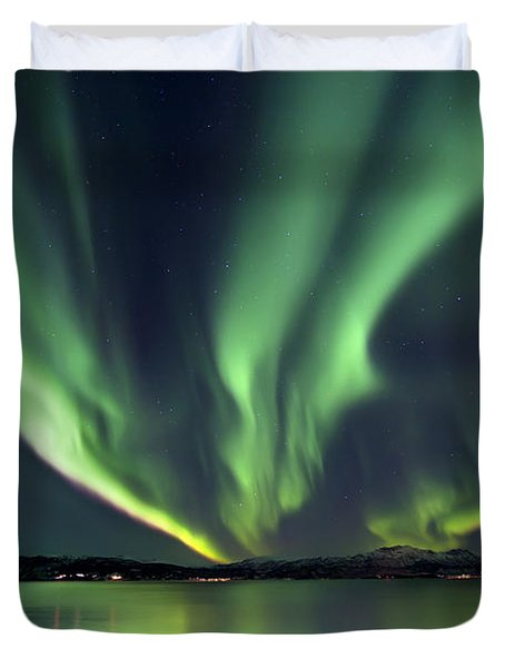 Duvet Cover featuring the photograph Aurora Borealis Over Tjeldsundet by Arild Heitmann