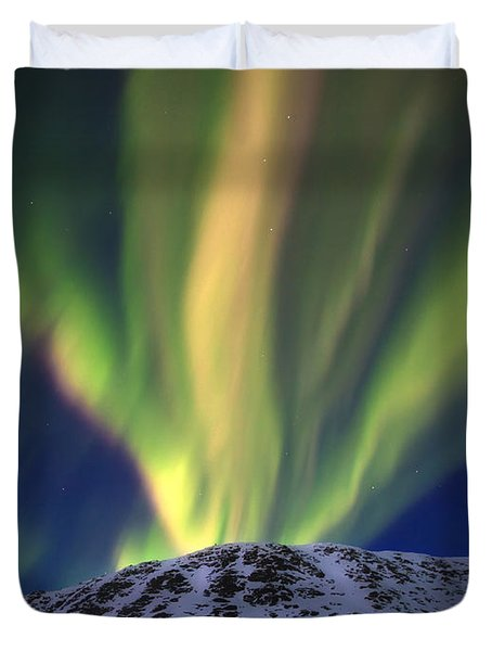 Aurora Borealis Over Toviktinden Duvet Cover by Arild Heitmann
