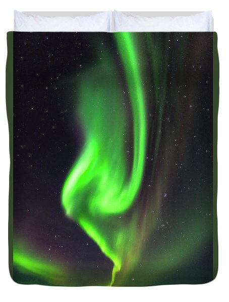 Duvet Cover featuring the photograph Aurora Burst by Allen Biedrzycki