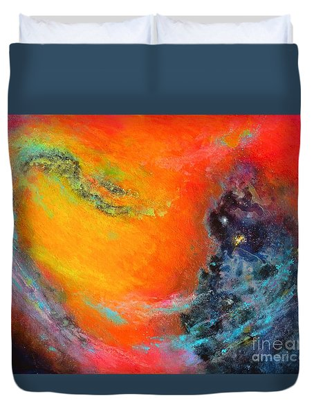 Fantasies In Space Series Painting. Aurora Galaxy Duvet Cover
