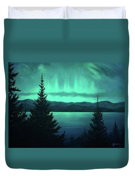 Aurora Over Lake Pend Oreille Duvet Cover