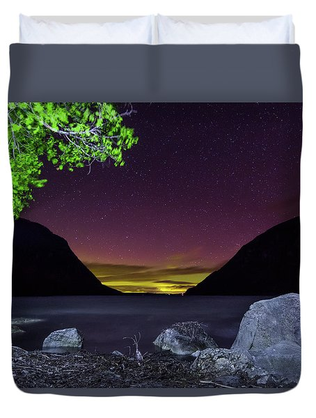 Aurora Over Lake Willoughby Duvet Cover by Tim Kirchoff