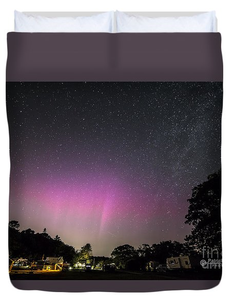 Aurora Over Sagadahoc Bay Campground Duvet Cover by Patrick Fennell