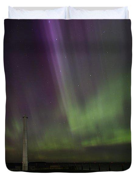 Aurora Over The Harbor Duvet Cover