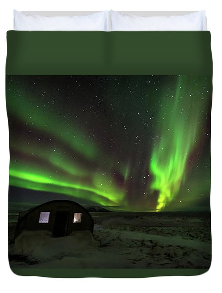 Duvet Cover featuring the photograph Aurora Storm by Allen Biedrzycki