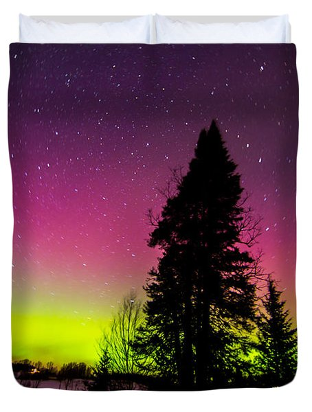 Aurora With Spruce Tree Duvet Cover by Tim Kirchoff