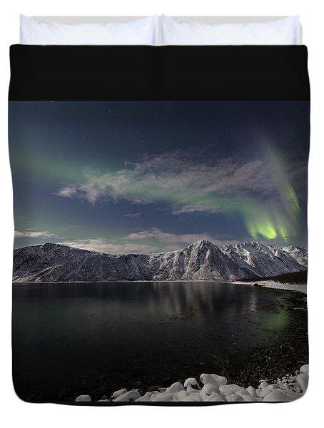 Auroras Over The Bay Duvet Cover