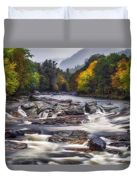 Duvet Cover featuring the photograph Ausable Cascades by Mark Papke
