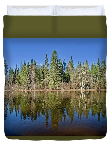 Duvet Cover featuring the photograph Ausable Reflections 1768 by Michael Peychich