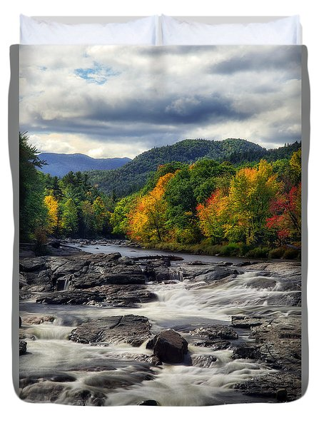 Duvet Cover featuring the photograph Ausable River Jay Ny by Mark Papke