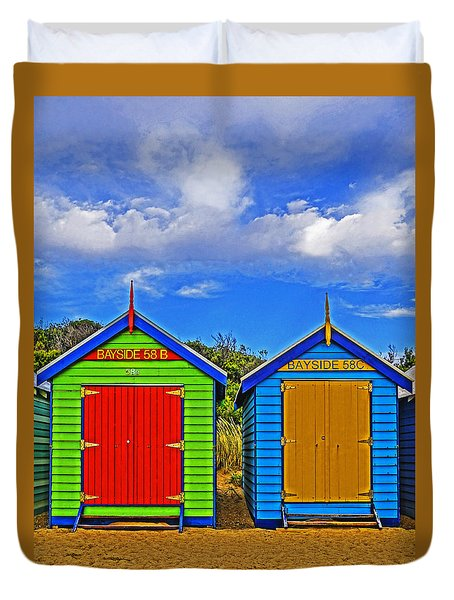 Aussie Beach Boxes Duvet Cover by Dennis Cox WorldViews