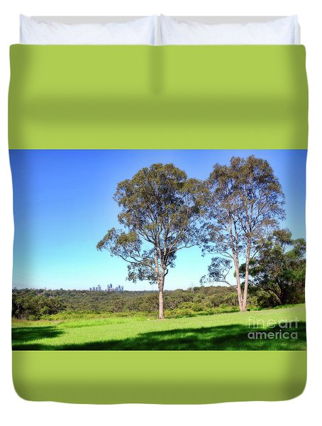 Duvet Cover featuring the photograph Aussie Gum Tree Landscape By Kaye Menner by Kaye Menner