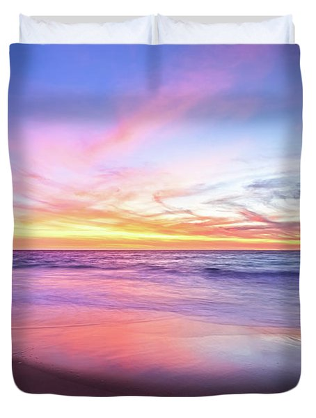 Aussie Sunset, Claytons Beach, Mindarie Duvet Cover