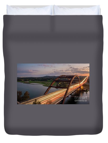Austin 360 Bridge At Night Duvet Cover