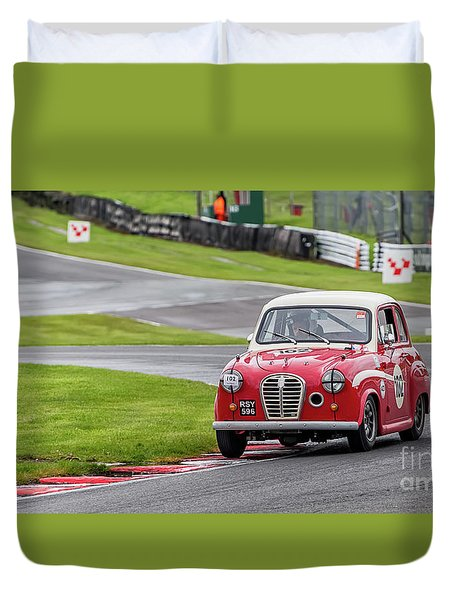 Duvet Cover featuring the photograph Austin A35  by Adrian Evans