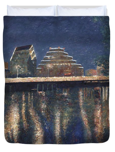 Duvet Cover featuring the painting Austin At Night by Felipe Adan Lerma