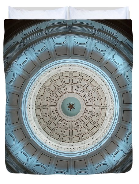 Austin Capitol Dome In Gray And Blue Duvet Cover