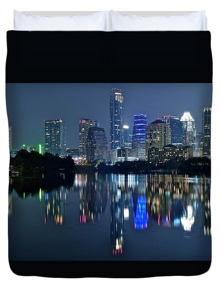 Austin Night Reflection Duvet Cover by Frozen in Time Fine Art Photography