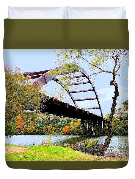 Austin Pennybacker Bridge In Autumn Duvet Cover