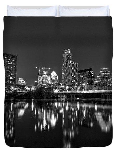 Austin Skyline At Night Black And White Duvet Cover