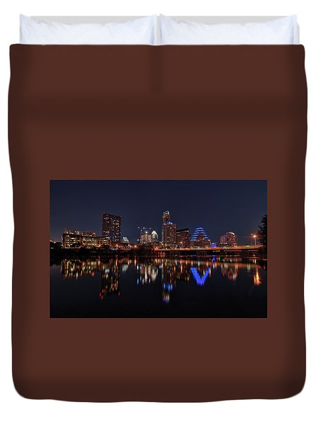 Austin Skyline At Night Duvet Cover
