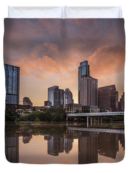 Austin Skyline Sunrise Reflection Duvet Cover