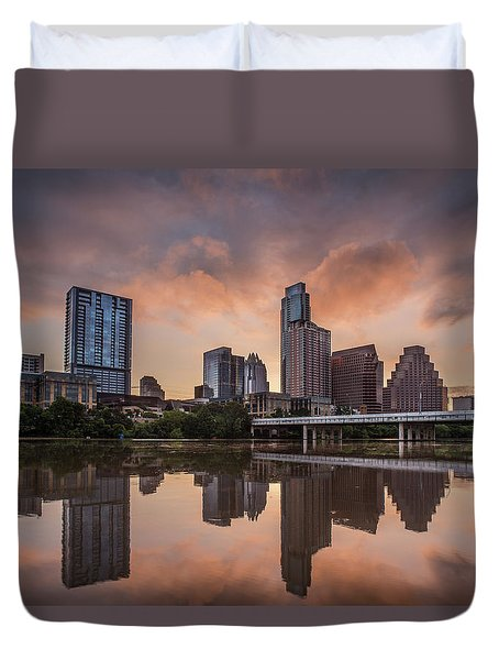 Austin Skyline Sunrise Reflection Duvet Cover