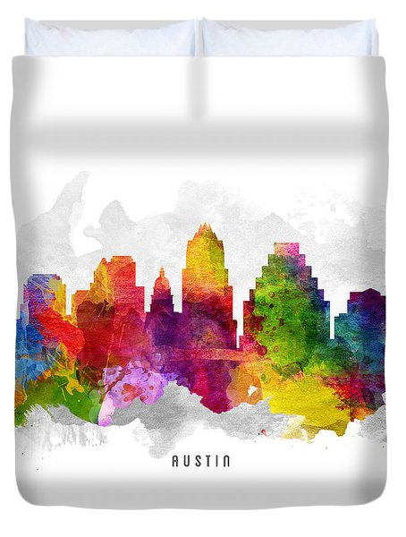 Austin Texas Cityscape 13 Duvet Cover by Aged Pixel