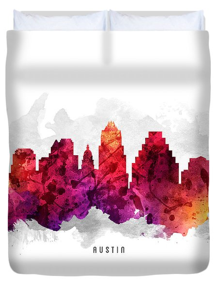 Austin Texas Cityscape 14 Duvet Cover by Aged Pixel