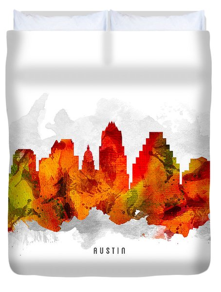 Austin Texas Cityscape 15 Duvet Cover by Aged Pixel