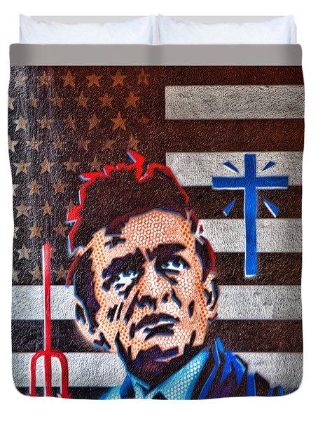 Austin Texas Johnny Cash Mural Duvet Cover