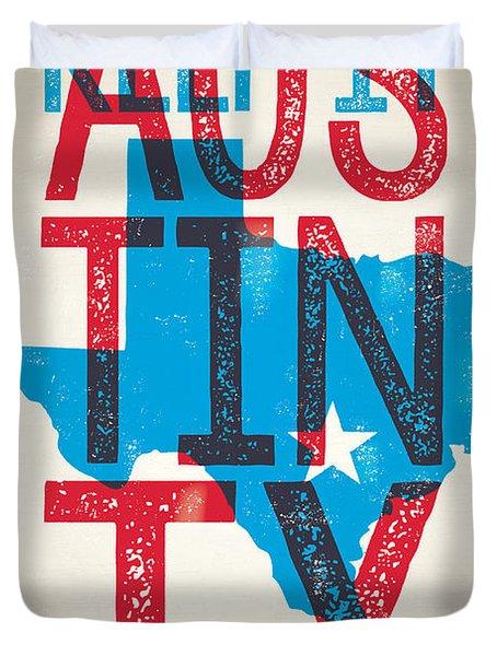 Austin Poster - Texas - Keep Austin Weird Duvet Cover