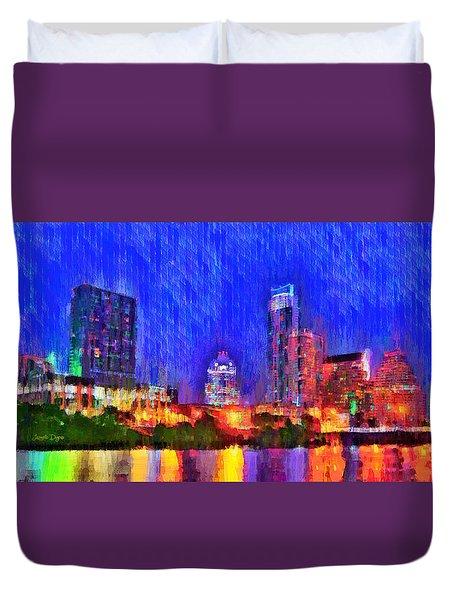 Austin Texas Skyline 100 - Da Duvet Cover