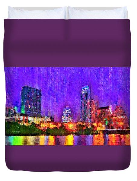 Austin Texas Skyline 110 - Pa Duvet Cover