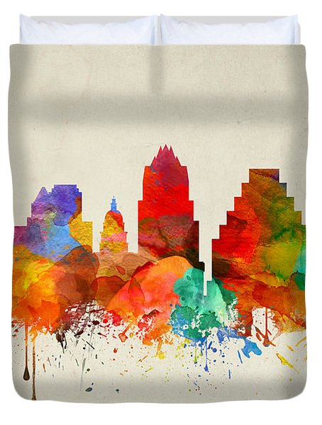 Austin Texas Skyline 22 Duvet Cover by Aged Pixel