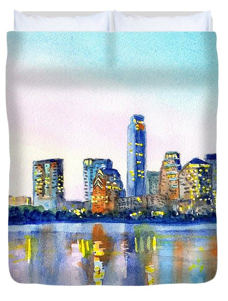 Austin Texas Skyline Duvet Cover