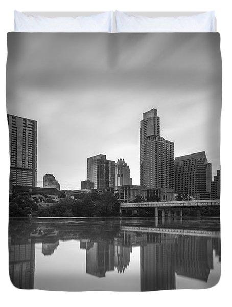Austin Texas Skyline Reflecting In Ladybird Lake Long Exposure Duvet Cover