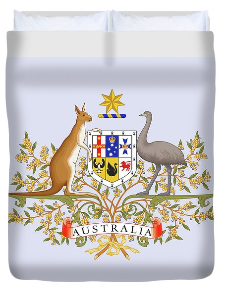 Duvet Cover featuring the drawing Australia Coat Of Arms by Movie Poster Prints