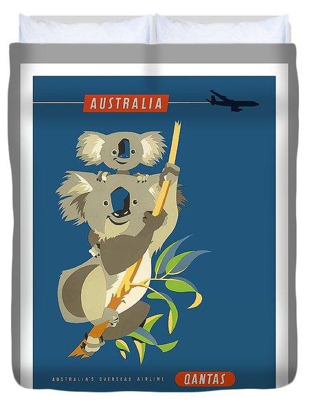 Australia Koala Bears Qantas Empire Airways Vintage Travel Poster Duvet Cover
