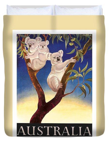 Australia Koala Vintage World Travel Poster By Eileen Mayo Duvet Cover