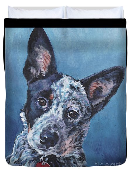 Duvet Cover featuring the painting Australian Cattle Dog by Lee Ann Shepard