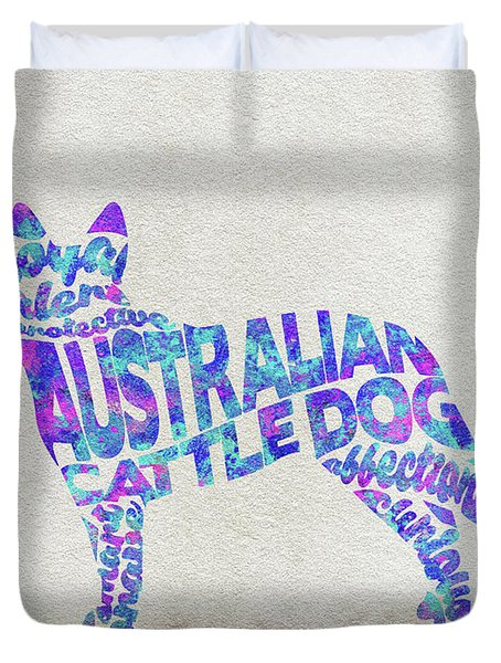 Duvet Cover featuring the painting Australian Cattle Dog Watercolor Painting / Typographic Art by Inspirowl Design