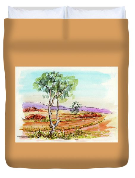 Duvet Cover featuring the painting Australian Landscape Sketch by Margaret Stockdale