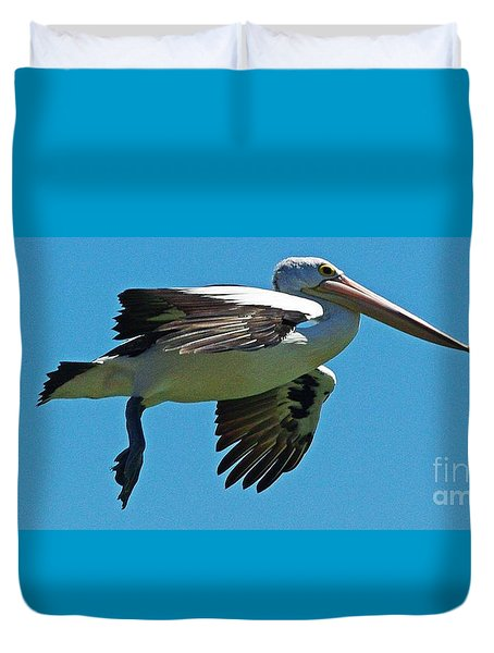 Australian Pelican In Flight Duvet Cover by Blair Stuart