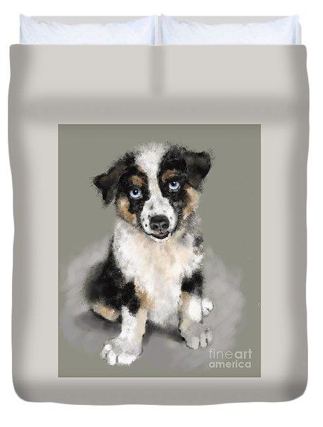 Australian Shepherd Pup Duvet Cover