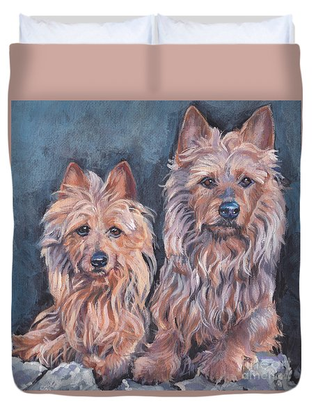 Duvet Cover featuring the painting Australian Terriers by Lee Ann Shepard