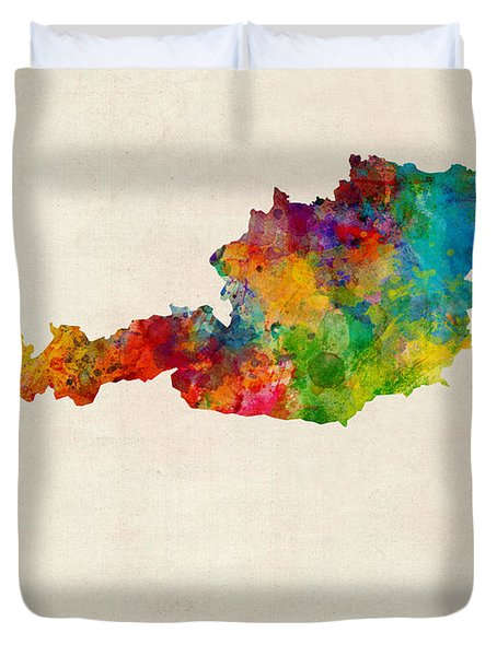 Austria Watercolor Map Duvet Cover