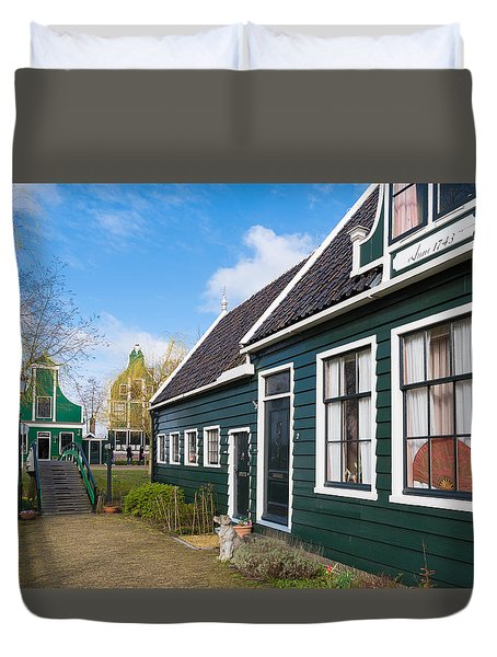 Duvet Cover featuring the photograph Authentic Dutch Houses by Hans Engbers
