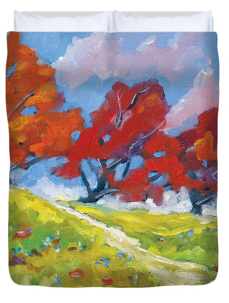 Automn Trees Duvet Cover by Richard T Pranke
